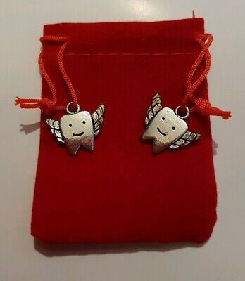 Tooth Fairy Bag - Toothfairy Silver Charms Red Velvet - First Milk Teeth Lost