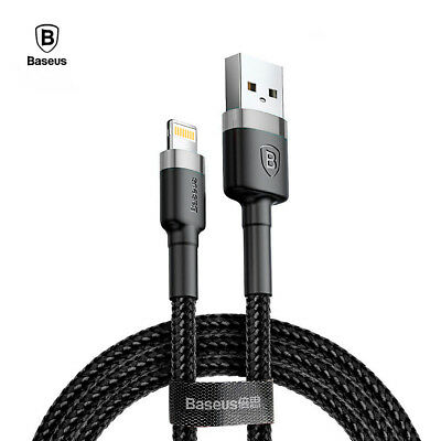 Cable USB Lightning carga rapida iPhone 2.4A BASEUS refuerzo nylon gris