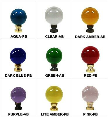 Lamp Finial-LARGE GLASS ORB in 9 Colors-Solid Brass Base, 2-Finishes