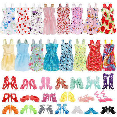 36PCS For Barbie Doll Clothes & Doll Shoes Party Gown Outfit Toy Accessories