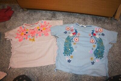 Little Girls M&S blue and pink  Top  - 4-5 years