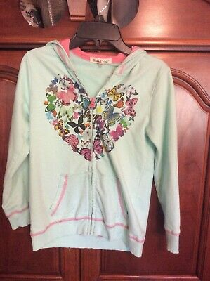 Girls hooded jacket, light green and pink with butterflies, Size L