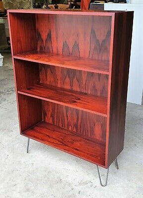 Vintage Rosewood Veneered Bookcase On Hairpin Legs  Delivery Available