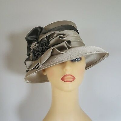 Ladies Wedding Hat Races Pale Gold Beige Satin by Kangol England Lined