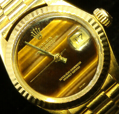 Rolex Ladies 18K Yellow Gold Datejust Oyster Factory Tiger Eye Dial 18K Gold