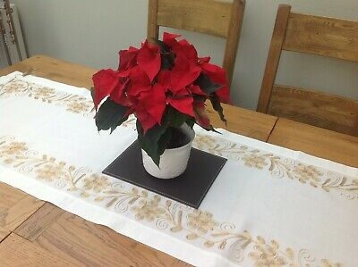 New Cream Table Runner Gold Embroidery 170  X 50 cm