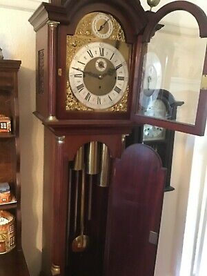 Very Attractive Mahogany Long Case Clock  Triple Weight  Private Sale .