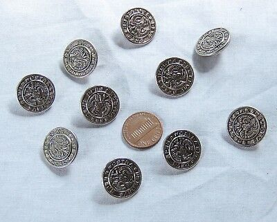 "Lot of 10 Nostra Es Devs Spes Eagle Metal Silver-Tone Shank Buttons 3/4"" 20mm"