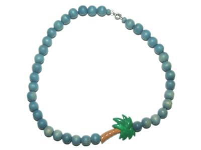 """Vintage 80's Painted Wood Tropical Palm Tree Round Blue Bead Necklace 18"""""""