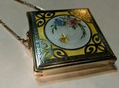 Antique STERLING ENAMEL GUILLOCHE Compact Gold Butterfly Hand Painted Flowers