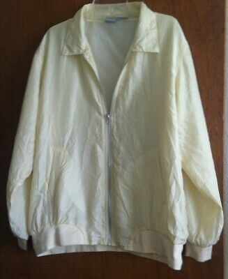 Vintage BLAIR Pale Yellow Light 100%Silk Zipped Top Jacket Blouse Lined Bomber L