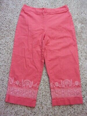 Dressbarn Linen Blend Capris Cropped Pants~Coral~Embroidered~Size 12~EUC