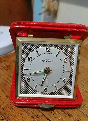 Seth Thomas 7 Jewels Bright Red Vintage Travel Alarm Clock Working