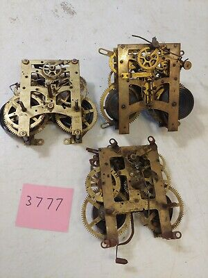 3 Assorted Antique Clock Movements 2 New Haven 1 Ingraham For Parts