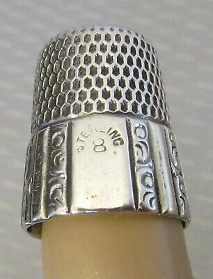 antique Simons STERLING SILVER THIMBLE wide paneled band sz 8 no engraving