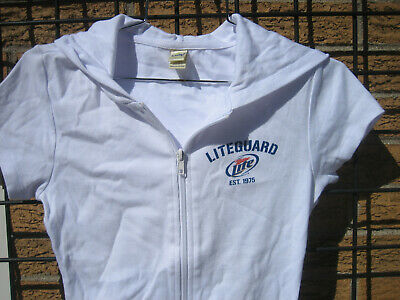 Ladies MILLER LITE Beer LiteGuard Zip Sweatshirt Hoodie t shirt (S) lifeguard (M