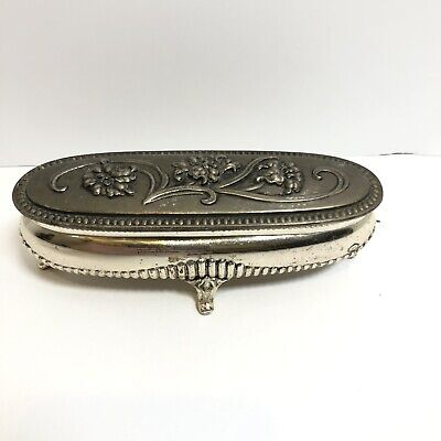Victorian Red Velvet Lined Cherub Floral Jewelry Casket Box Silver Plate