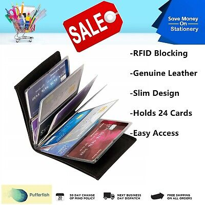 Amazing Slim Genuine Leather Wallet RFID Scan Blocking Protection TV 24 Cards AU