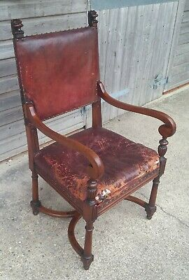 A Good Mahogany Late Victorian Gothic Revival Library Chair