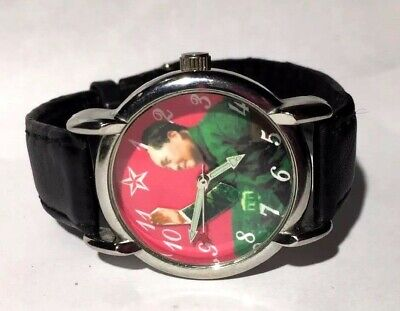 Mao Zeong Chinese Leader Watch Silver Case Mechanical Black Band Animated Hand