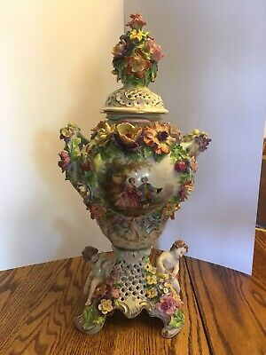 18th Century Large Dresden Porcelain Urn Potpourri Vase Beautiful Ornate Flowers