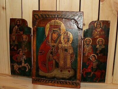 Vintage religious hand painted triptych icon Jesus Christ child Virgin Mary