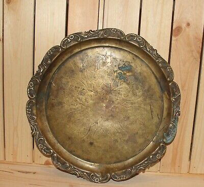 Antique Art Nouveau ornate floral engraved brass footed serving tray platter