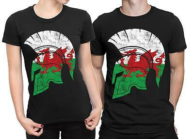 Wales Flag Spartan Helmet T-shirt Gym Workout Bodybuilding Fitness Top Tee