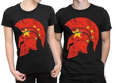 China Flag Spartan Helmet T-shirt Gym Workout Bodybuilding Fitness Top Tee