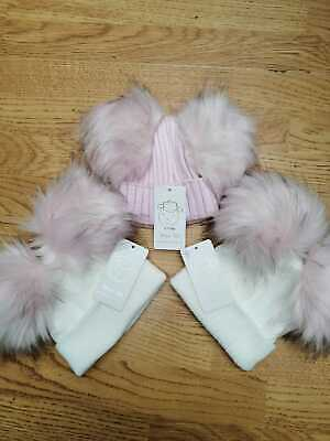 Girls Lovely Knitted Large Pom Pom Hats Size 0/1yr & 1/3yrs
