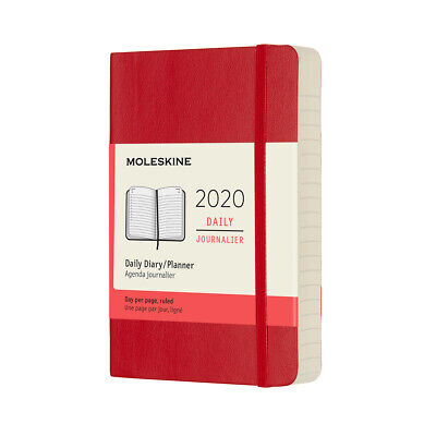 NEW Moleskine 2020 Daily Diary Pocket Soft Cover Scarlet Red