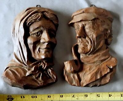 Antique vtg carved wood wall sculpture black forest male woman pair smoking pipe