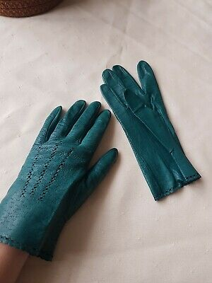 1940s Original Green Leather Gloves