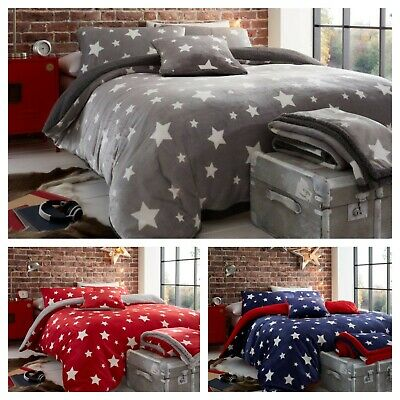 Teddy Bear Fleece Star Duvet Cover Set OR Throw Printed Cozy Warm Winter Bedding