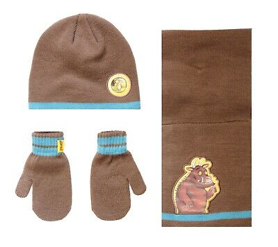 Boys The Gruffalo Winter Beanie Hat Scarf Mittens Set Age 2-3 Years Brown