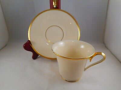 Footed Tea Coffee Cup & Saucer, Lenox China, Eternal Pattern, Gold Ring & Trim