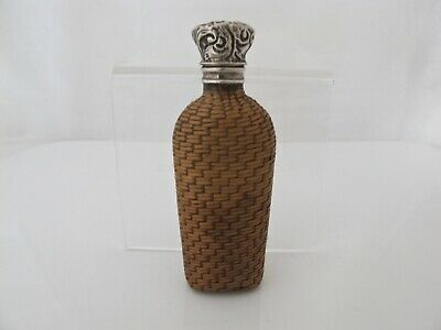 Rare silver-mounted Victorian silver wicker-cased scent bottle London c 1880