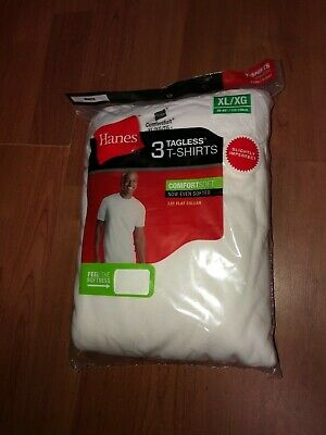 Hanes Mens 3 pack White T Shirt UnderShirt Crew Neck Size S-4XL 100% Cotton!