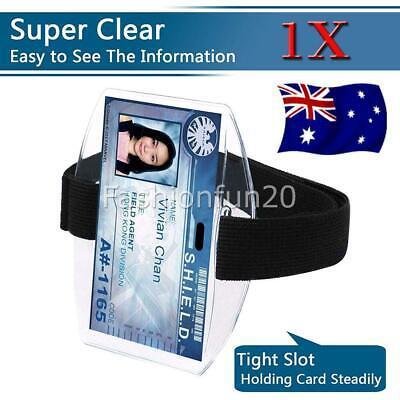 Vertical Armband Security ID Card Photo Badge Holder Clear + Elastic Strap AUS