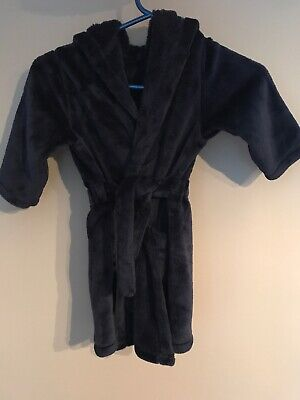 M&S Boys Navy Dressing Gown supersoft 3-4 years belt hood