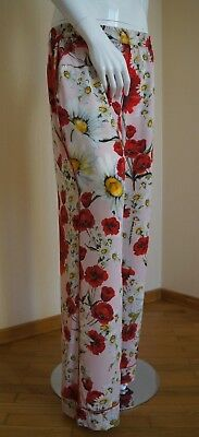 Women's DOLCE & GABBANA Pants Trousers Silk Poppies Print Size 40 Made in Italy