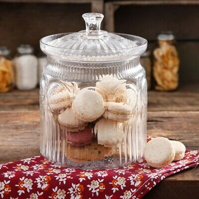 The Pioneer Woman Adeline Glass Cookie Jar Clear Storage Container Lid Round New