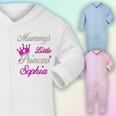 Mummy's Princess Name Embroidered Baby Sleepsuit Gift Personalised Girl