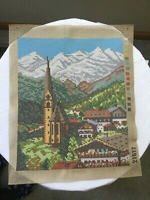 Gobelin Needlework Tapestry Painted Canvas - Scenic Village (box,frame,thread)