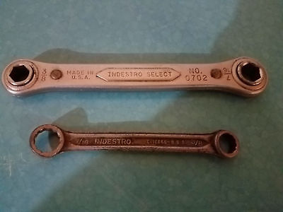 "VTG INDESTRO Wrench Pair - 3/8"" 7/16"" Ratcheting 0702 & Combo 12 Point Box - USA"