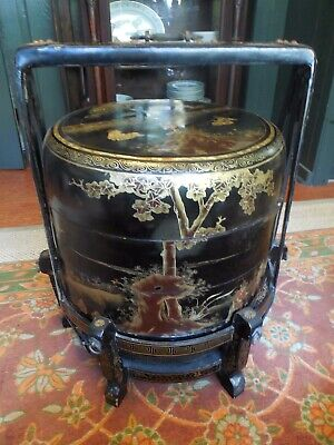 Large Antique Gold And Black Lacquer Chinese Wedding Basket Circa Early 20thC