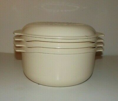 Vintage TUPPERWARE TUPPERWAVE 4 Pc Almond Stack Cooker Microwave Steam Cook Set