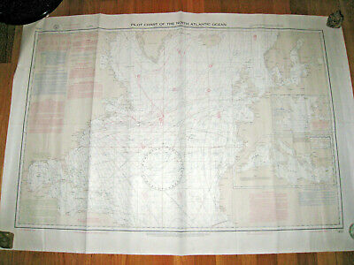 Pilot Chart of the North Atlantic Ocean Buoyage Beaconage #1400 1967 Nautical