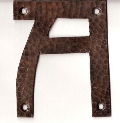 Craftsman// Arts and Crafts 4 inch high #1 Hammered copper house number