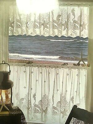 "Heritage Lace White SEASCAPE Window Valance 60"" Wide x 14"" Long USA  NEW"